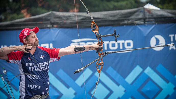 Brady Ellison shoots during finals at the first stage of the 2021 Hyundai Archery World Cup in Guatemala City.