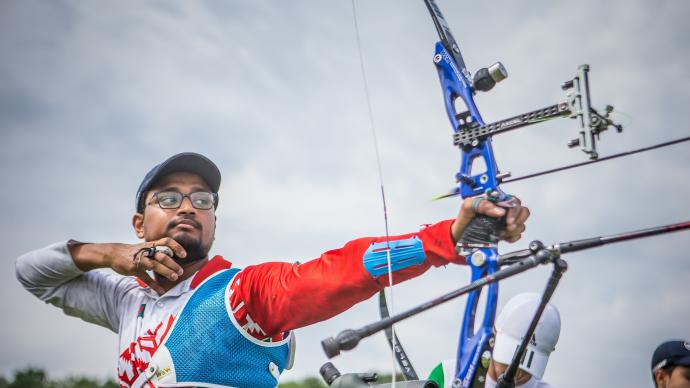 Ruman Shana shoots at the fourth stage of the 2019 Hyundai Archery World Cup in Berlin.