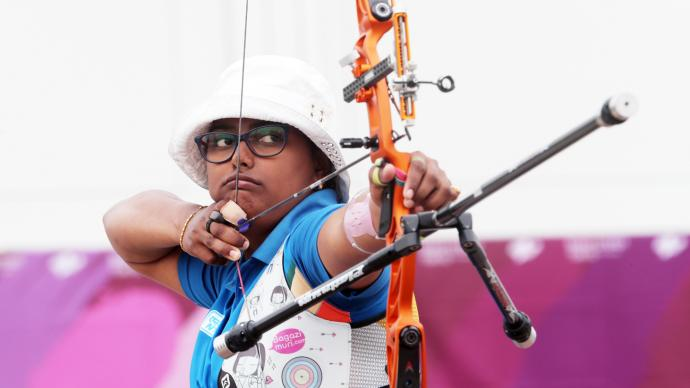 Deepika Kumari shoots during the test event for the Tokyo 2020 Olympic Games.