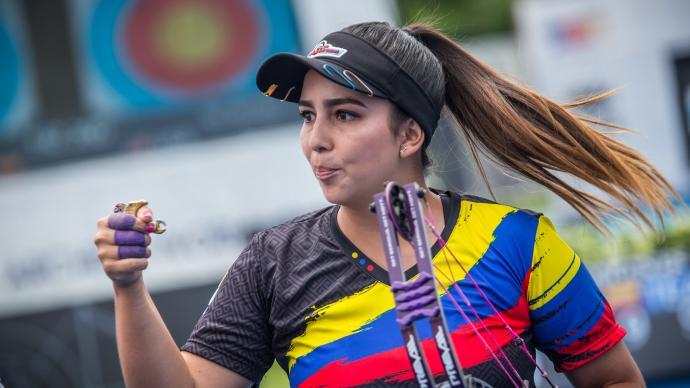 Sara Lopez celebrates during the first stage of the 2019 Hyundai Archery World Cup in Medellin.