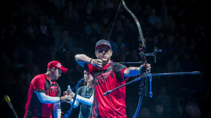 Jack Williams shoots during the Nimes Archery Tournament in 2020.