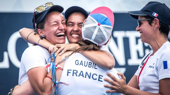 France's recurve women celebrate during the first stage of the 2019 Hyundai Archery World Cup in Medellin.