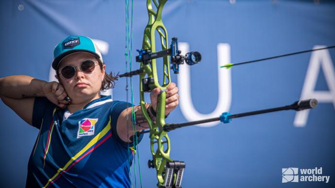 Nora Valdez shoots during the gold medal match of the first stage of the 2021 Hyundai Archery World Cup in Guatemala City.