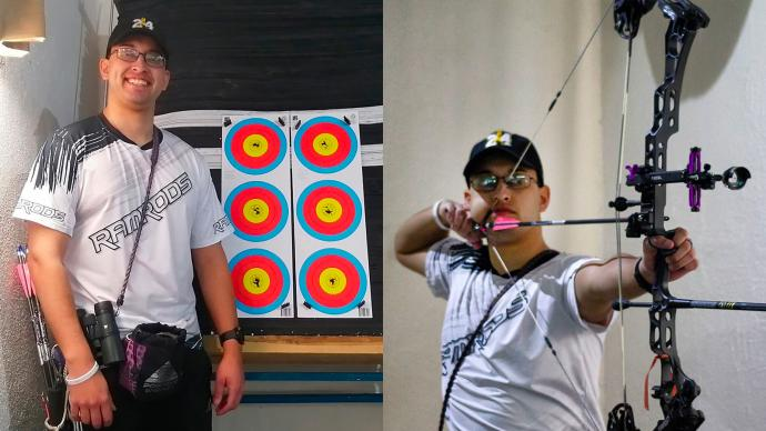 Jesus Sanchez shooting and with target for February stage of 2021 Indoor Archery World Series.