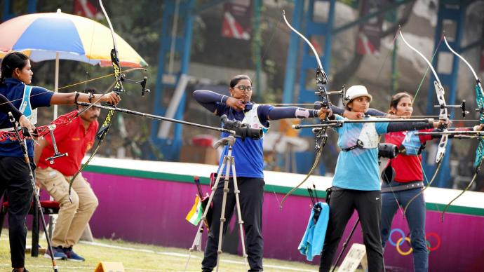 Deepika Kumari shoots during Indian selection trials for 2021.