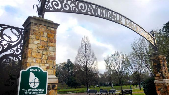 Avondale Park entrance with World Games venue sign.