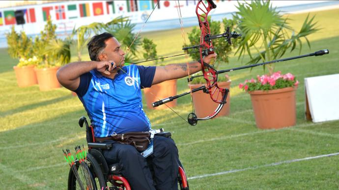 Rajesh Kumar shoots during finals at the Fazza tournament in 2021.