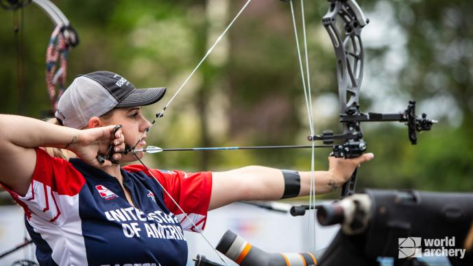 Paige Pearce shoots during qualification  at the first stage of the 2021 Hyundai Archery World Cup in Guatemala City.