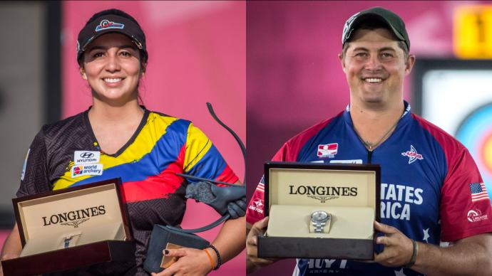 Sara Lopez and Brady Ellison on the podium at the Hyundai Archery World Cup Final in 2019.