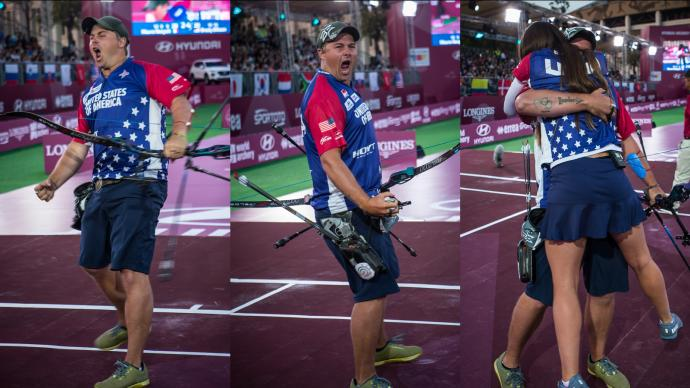 Brady Ellison celebrates winning his fifth Hyundai Archery World Cup Champion title.