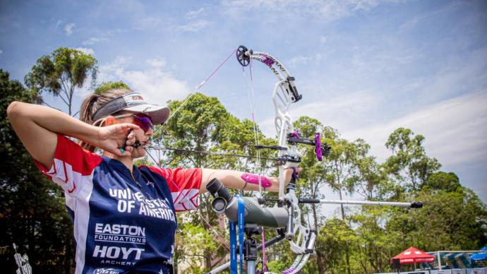 Linda Ochoa-Anderson shoots during practice at the first stage of the 2021 Hyundai Archery World Cup in Guatemala City.