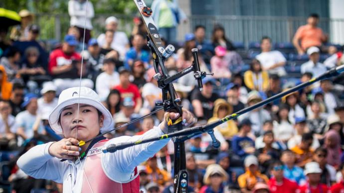 Kang Chae Young shoots in the recurve women's final at the second stage of the 2019 Hyundai Archery World Cup in Shanghai.